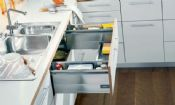 Blum. TANDEMBOX plus sink drawer, height D (224 mm), NL=450 mm, left/right. R9006 white aluminium/dust grey. 358M450SINK